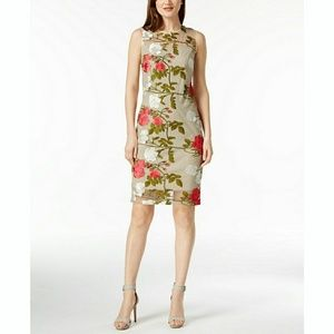 New! CALVIN KLEIN Embroidered Floral Sheath Dress
